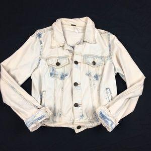 Free People Bleach Distressed Denim Jacket Boho 8